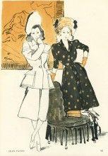 Jean Patou 1945, Summer Dress, Tuxedo, by René Gruau