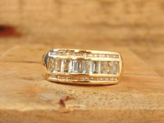 Vintage Aquamarine Diamond 14K Yellow Gold Band Ring, 1.40 Carats, Wedding. March Birthday by EclairJewelry on Etsy