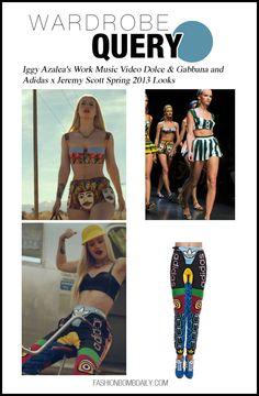 Wardrobe Query: Iggy Azalea's Work Music Video Dolce & Gabbana and Adidas x Jeremy Scott Spring 2013 Looks