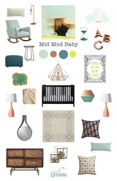 Aqua, Copper and Chartreuse Gender Neutral Nursery Inspiration | Midcentury Modern Baby - Sweet Gemma