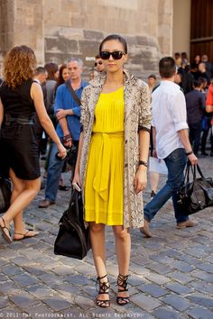 Printed coat and yellow dress
