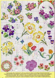 Маленькие цветы – вышивка крестом для начинающих   КАРАКУЛИ