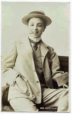 Vesta Tilley, male impersonator in the late Victorian and Edwardian periods, through WWI. Dapper Gentleman, Gentleman Style, Burberry Men, Gucci Men, Dandy, Vintage Lesbian, Lgbt History, Drag King, Butches