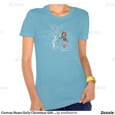 Snow Scene with a young girl skier Girly Design T-Shirts / Sweatshirts for teen girls with  personalized name. Matching cards, postage stamps and other products available in the Christmas & New Year Category of the artofmairin store at zazzle.com