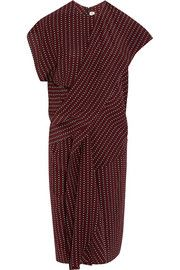 Draped printed silk-crepe dress