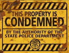 Property Condemned Sign - Halloween Decor Prop Road and Lawn Decoration Sticker - Halloween FX Props Halloween Facts, Halloween Vinyl, Theme Halloween, Halloween Stickers, Outdoor Halloween, Holidays Halloween, Scary Halloween, Halloween Prints, Halloween Stuff