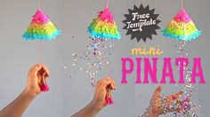 Make a Pinata to fill with goodies is easy and fun. Easy quick DIY video tutorial for a draw string pinata! Assemble cute mini rainbow pinatas for fiestas! Rainbow Pinata, How To Make Pinata, Mexico Party, Thinking Day, Party Time, Party Planning, Crafts For Kids, Paper Crafts, 3d Paper