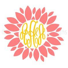 Dahlia monogram flower SVG instant download design for cricut or silhouette by SSDesignsStudio on Etsy https://www.etsy.com/listing/399877845/dahlia-monogram-flower-svg-instant