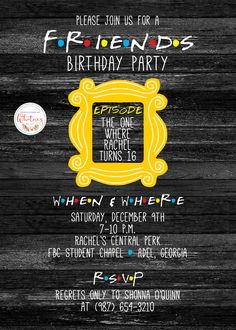 Friends TV Show Themed Birthday Party Digital Printable Invitation Design By WhitneyYarberDesigns On Etsy