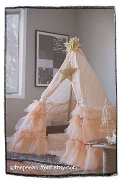 Kids Ruffle Teepee Play Tent  IN STOCK by TeepeeandTent on Etsy, $350.00.  I want to make this for Aspen! She would love it!