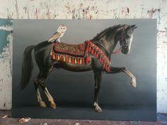 retouched black horse 230/160