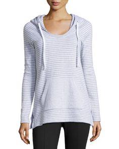 T9KQE James Perse Striped Raglan Hoodie, White