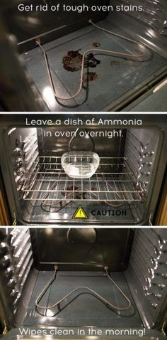 clean you oven overnight with ammonia. No scrubbing required. So easy! Can't wait to try this!