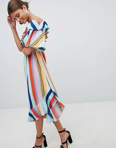 Boohoo Bold Stripe Midi Dress