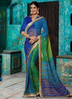 Cute Multi Colour Print Work Designer Saree