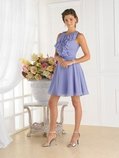 Short chiffon a line dresses/summer business casual clothes with sleeveless