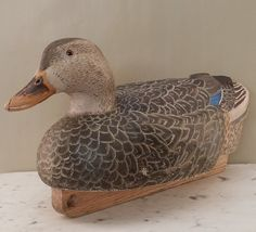Hand-Carved Painted Cork and Wood Working Decoy Mallard Hen