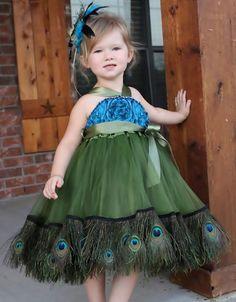 Girls Peacock Feather Chiffon Rosette Dress