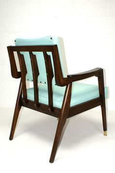 Danish Mid Century Modern Aqua Blue Lounge Chair