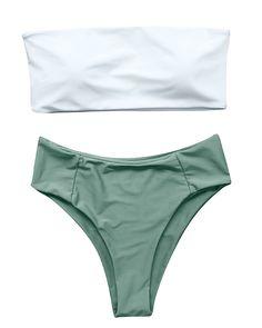 59dec22cf2d60 Bikinis - OMKAGI Women s 2 Pieces Bandeau Bikini Swimsuits Off Shoulder High  Waist Bathing Suit High Cut  Clothing