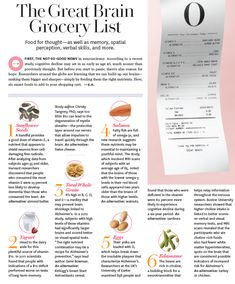 The Great Brain Grocery List from O Magazine. #brainfood #healthy