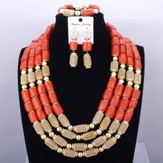 Red Coral Nigerian African Bride Wedding Beads Jewelry Set Plated Gold Jewellery set 4 Layers Necklace Bracelet earring jewelry