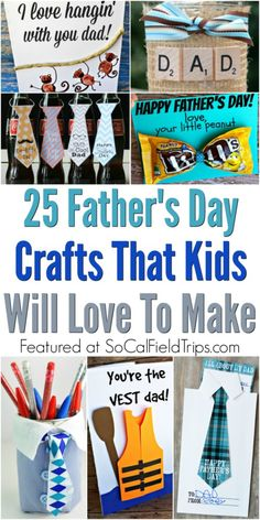 Are you looking for a unique Father's Day gift? Check out these 25 Father's Day Crafts for Kids that are great for preschoolers & classes to make together.