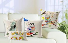 Free Shipping Hand painted flowers and birds Cotton Linen Pillow Case Sofa Home Decor Throw Cushion Cover 7 patterns/lot