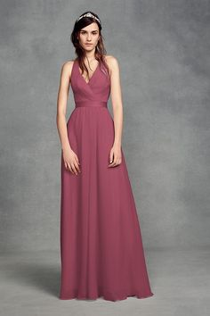 d1f64192499 Chiffon Halter Bridesmaid Dress with Tulle Bow Style VW360418