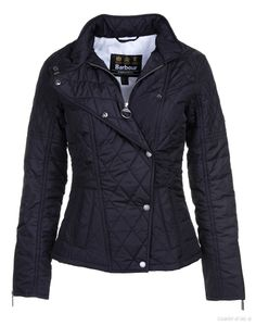 Barbour International Ladies' Axel Quilted Jacket – Black.  The Axel Quilted jacket has a biker style design with an elegantly tailored fit and an asymmetric fastening. The jacket has a lightweight quilted outer which is ideal to wear during the warmer months for a smart, edgy look. The exposed zips, metal studs and varying quilt effects recreate the look of a classic motorcycle jacket, while the lining, which features Barbour's 'Ladies on Tour' print, offers a retro look.
