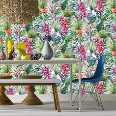 Shop for Aloha Tropical Wallpaper. Get free delivery On EVERYTHING* Overstock - Your Online Home Improvement Destination! Tropical Wallpaper, Green Wallpaper, Refinish Kitchen Cabinets, Kitchen Cabinet Doors, King Size Mattress, Bathroom Wallpaper, Gold Wood, Perfect Pillow, Girls Bedroom
