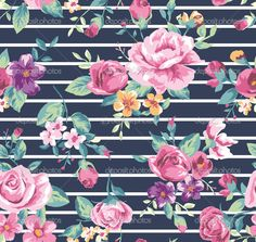 Download - Vintage tropical flower pattern with stripe background — Stock Illustration #39389133