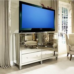 Manhattan Glamour Style: Using A Mirrored Dresser As A Media Cabinet #decor #nyc