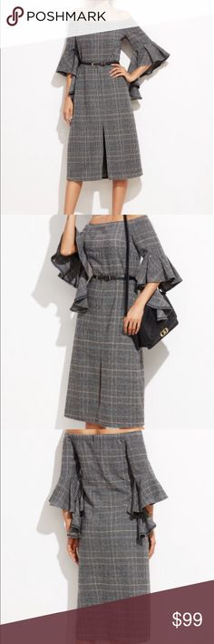 Plaid off the shoulder ruffle sleeve dress Plaid off the shoulder ruffle sleeve dress. 100% polyester. Fabric has no stretch. Approximately knee length. Three quarter length ruffle accent sleeves. New without tags. Never worn. Ships within 7 business days. 104 Fox&Lace Dresses