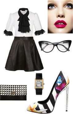 """Zooey deschanel inspired. Geek chic with a bad girl edge with classic touches. Black and white stripes and houndstooth."" by ekbarrios on Polyvore"