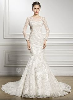 Trumpet/Mermaid Scoop Neck Chapel Train Tulle Lace Wedding Dress With Beading Sequins (002057227)