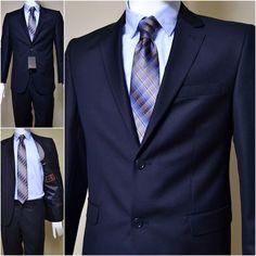 Pullus Classic Men's Suit, Wool Solid Suit, Pullus Wedding Men Suit / Navy Blue