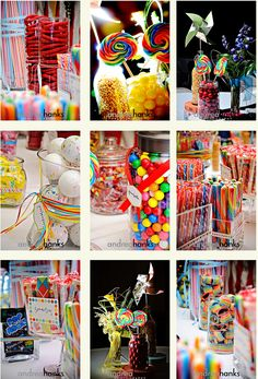 centerpiece ideas - candy, popcorn, bubblegum, ribbon and lots of it. Willy Wonka party idea no link Candy Theme, Candy Party, Party Favors, Carnival Birthday, Birthday Parties, Carnival Wedding, Ciel Pastel, Party Centerpieces, Centerpiece Ideas