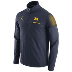 Nike Outerwear Jordan University of Michigan Football Heather Navy Elite Coaches 1/4 Zip