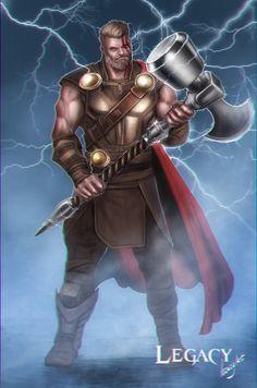 Thor ragnarok with ultimate mjölnir hammer, Legacy 777 on ArtStation at https://www.artstation.com/artwork/1k3JZ