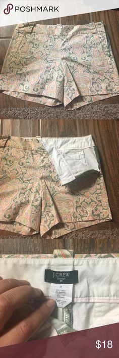 Pattern 4in chino green pink orange paisley side zip jcrew chino - barely worn J. Crew Shorts
