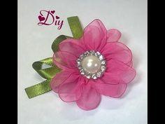 Flor de fita de voal \ Ribbon flower Diy - YouTube