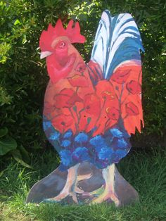 Cockerel for Great Elm Flower and Harvest Festival; cut out by Allan Howe Flower Festival, Community Events, Harvest, Birds, Flowers, Painting, Animals, Art, Art Background