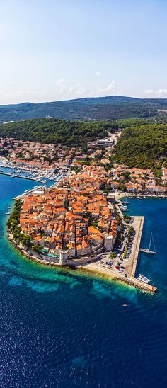 Amazing View of Korcula old town. Dubrovnik archipelago - Elaphites islands, Croatia