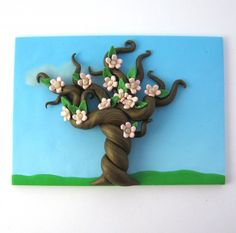 Spring Blossom Fairy Tree Polymer Clay Relief Sculpture ACEO