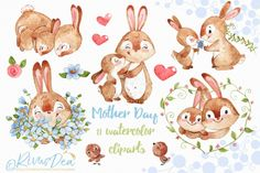 Mothers day watercolor clipart with cute bunny and mom Rabbit nursery decor clip art Baby animal pack Watercolor heart flowers set DIY gift Watercolor animals rabbit mother day watercolor clipart Watercolor Clipart, Watercolor Heart, Watercolor Animals, Clipart Baby, Mermaid Clipart, Clip Art, Cute Baby Bunnies, Dibujos Cute, Christmas Drawing