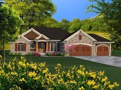 Ranch Home Plan with 2092 Square Feet and 3 Bedrooms from Dream Home Source | House Plan Code DHSW077266