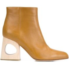 Marni cut out heel ankle boots ($890) ❤ liked on Polyvore featuring shoes, boots, ankle booties, brown, chunky booties, chunky-heel boots, brown booties, chunky-heel ankle boots and brown high heel boots