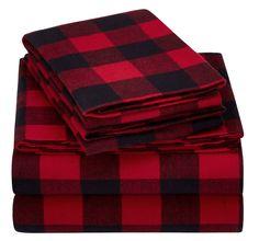 Pinzon 160 Gram Plaid Velvet Flannel Sheet Set - King, Red Buffalo Check