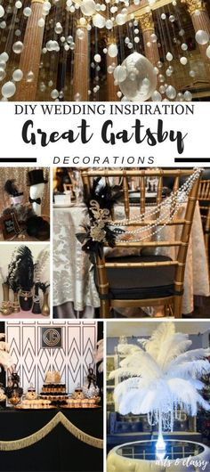 DIY Wedding ideas that fit a tight budget - The book and movie The Great Gatsby inspired me with this wedding theme. Who doesn't love the appeal of the roaring and Gatsby? Check out these Great Gatsby Wedding Decor Ideas + Inspiration The Great Gatsby, Great Gatsby Motto, Great Gatsby Wedding, Trendy Wedding, 1920s Wedding Decor, Diy 1920s Party, Classy Wedding Ideas, 1920 Theme Party, Great Gatsby Cake